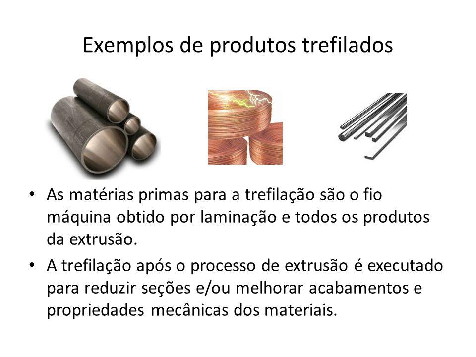 Exemplos de produtos trefilados As matérias primas para a trefilação são o fio máquina obtido por laminação e todos os produtos da extrusão. A trefila