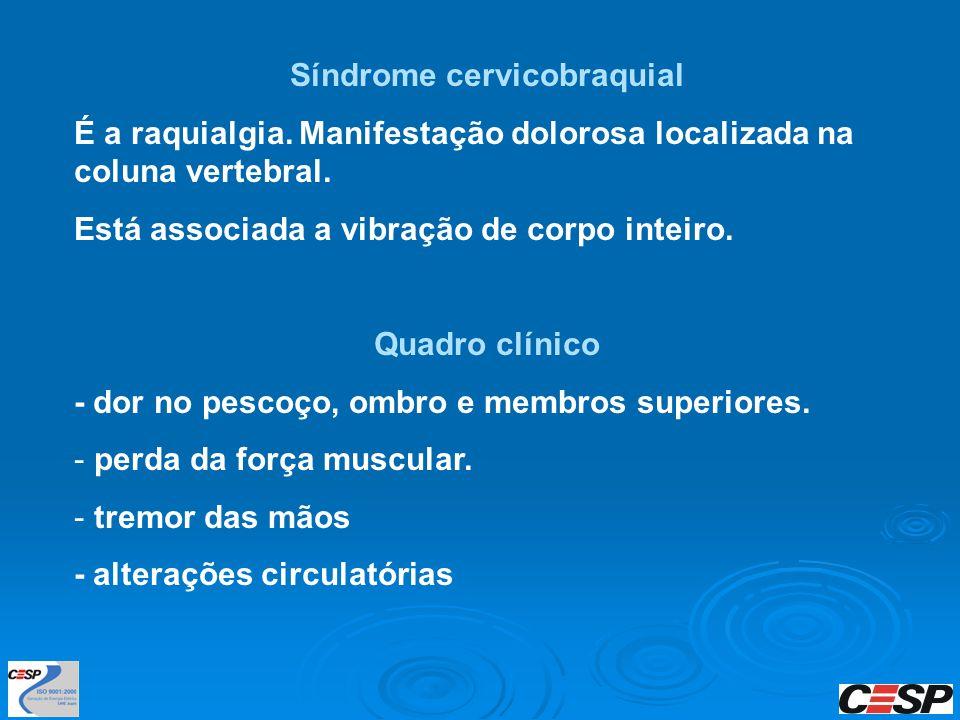 Síndrome cervicobraquial É a raquialgia. Manifestação dolorosa localizada na coluna vertebral. Está associada a vibração de corpo inteiro. Quadro clín