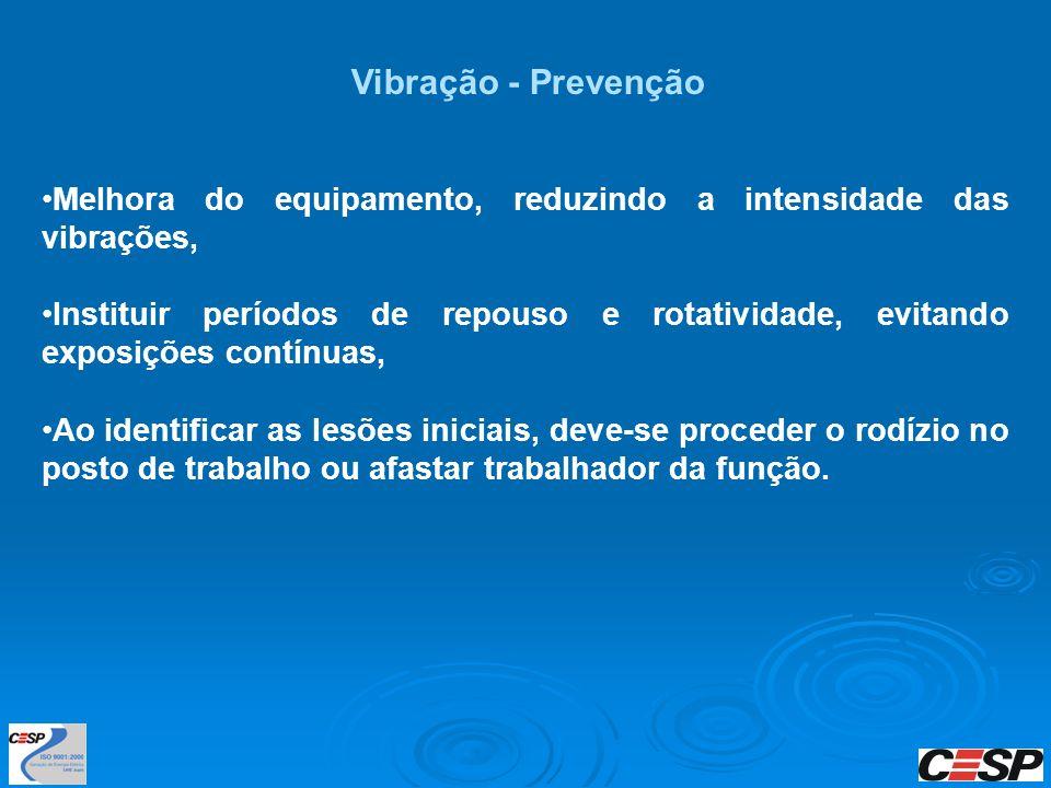 Melhora do equipamento, reduzindo a intensidade das vibrações, Instituir períodos de repouso e rotatividade, evitando exposições contínuas, Ao identif
