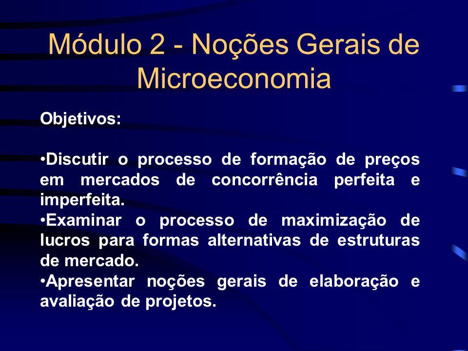 Módulo 2 - Noções Gerais de Microeconomia Objetivos: Discutir o processo de formação de preços em mercados de concorrência perfeita e imperfeita. Exam