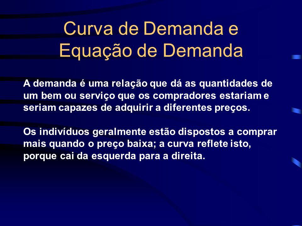 Curva de Demanda e Equação de Demanda A demanda é uma relação que dá as quantidades de um bem ou serviço que os compradores estariam e seriam capazes
