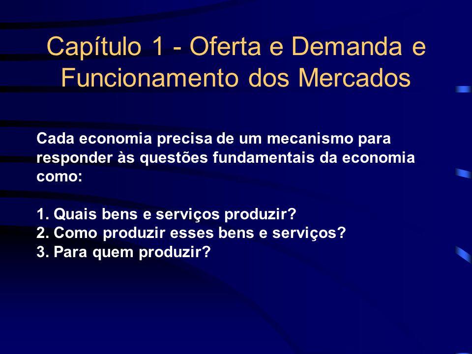 Capítulo 1 - Oferta e Demanda e Funcionamento dos Mercados Cada economia precisa de um mecanismo para responder às questões fundamentais da economia c