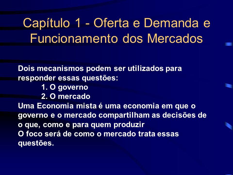 Capítulo 1 - Oferta e Demanda e Funcionamento dos Mercados Dois mecanismos podem ser utilizados para responder essas questões: 1. O governo 2. O merca