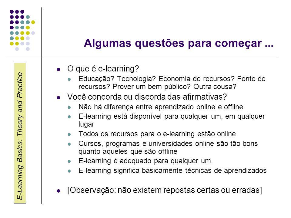 E-Learning Basics: Theory and Practice Algumas questões para começar... O que é e-learning? Educação? Tecnologia? Economia de recursos? Fonte de recur