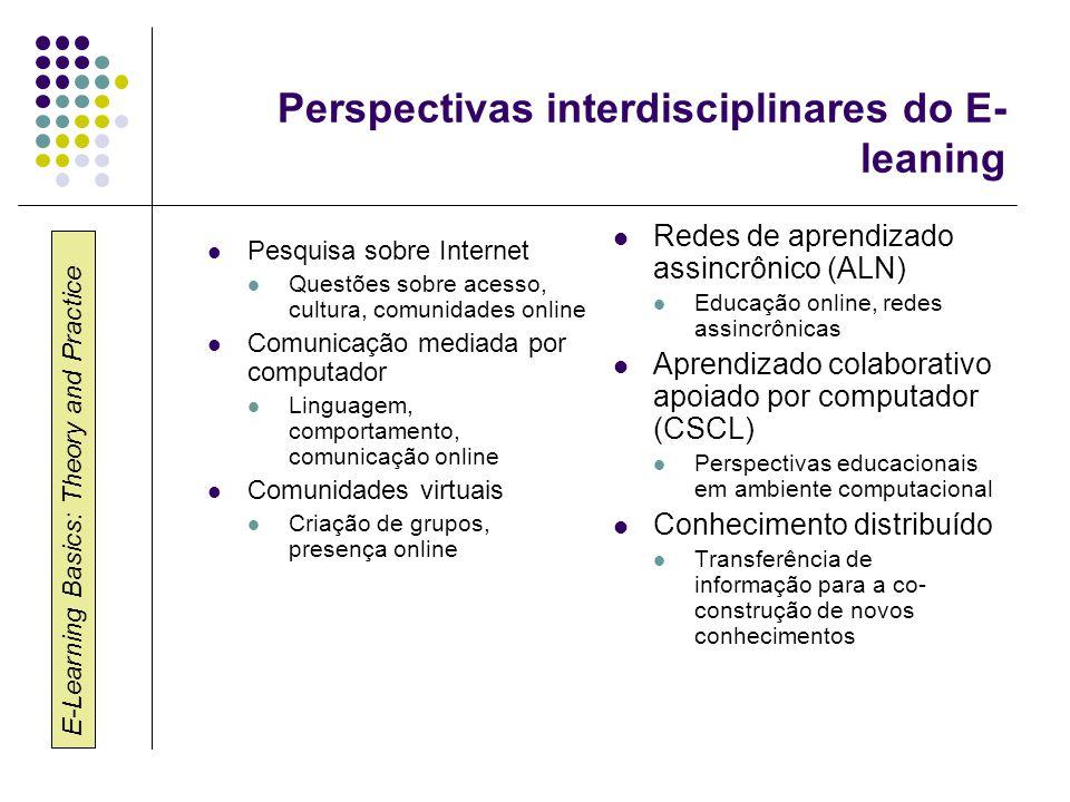 E-Learning Basics: Theory and Practice Perspectivas interdisciplinares do E- leaning Pesquisa sobre Internet Questões sobre acesso, cultura, comunidad