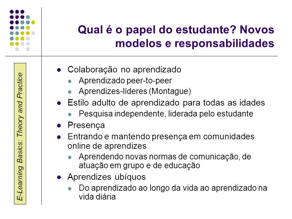 E-Learning Basics: Theory and Practice Qual é o papel do estudante? Novos modelos e responsabilidades Colaboração no aprendizado Aprendizado peer-to-p