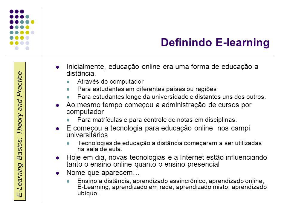 E-Learning Basics: Theory and Practice Definindo E-learning Inicialmente, educação online era uma forma de educação a distância. Através do computador