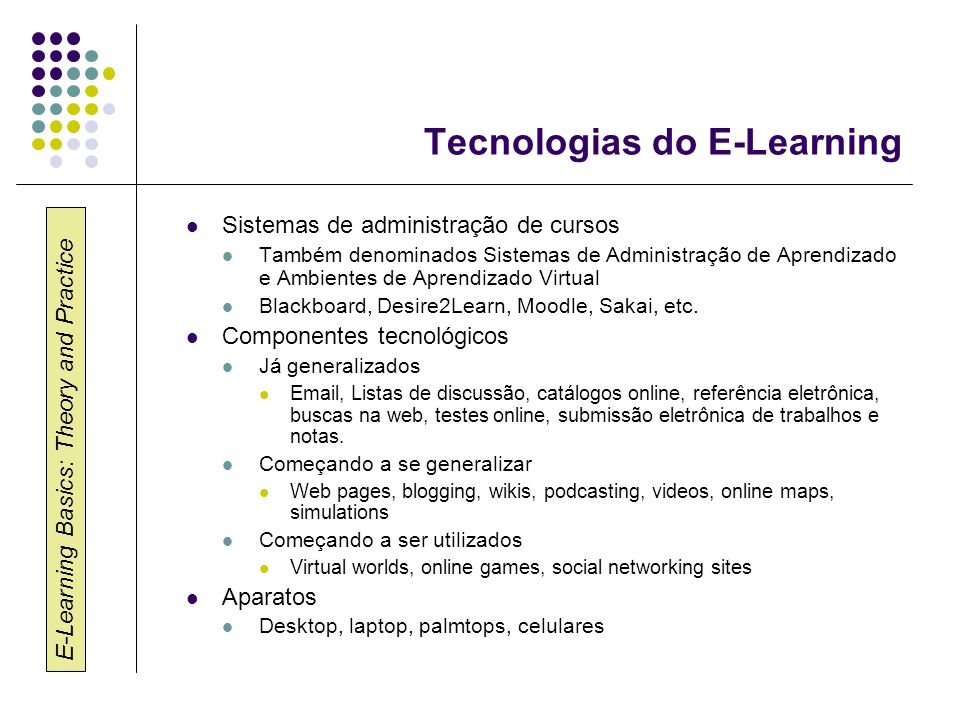 E-Learning Basics: Theory and Practice Quem ensina online.