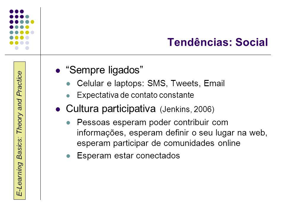 "E-Learning Basics: Theory and Practice Tendências: Social ""Sempre ligados"" Celular e laptops: SMS, Tweets, Email Expectativa de contato constante Cult"
