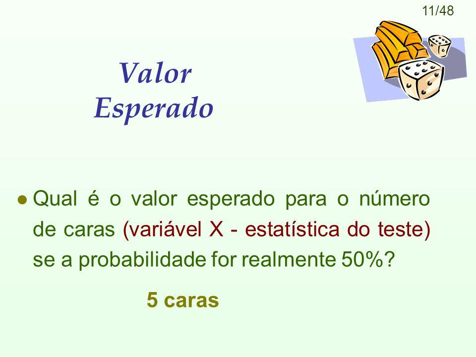 11/48 Valor Esperado l Qual é o valor esperado para o número de caras (variável X - estatística do teste) se a probabilidade for realmente 50%? 5 cara