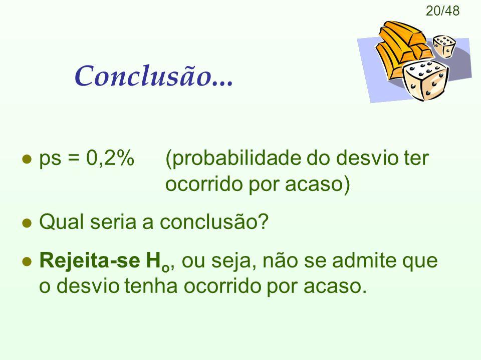 20/48 Conclusão... l ps = 0,2% (probabilidade do desvio ter ocorrido por acaso) l Qual seria a conclusão? l Rejeita-se H o, ou seja, não se admite que