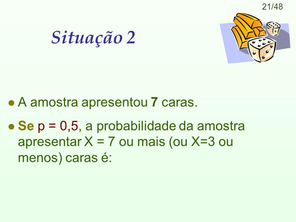 21/48 Situação 2 l A amostra apresentou 7 caras. l Se p = 0,5, a probabilidade da amostra apresentar X = 7 ou mais (ou X=3 ou menos) caras é:
