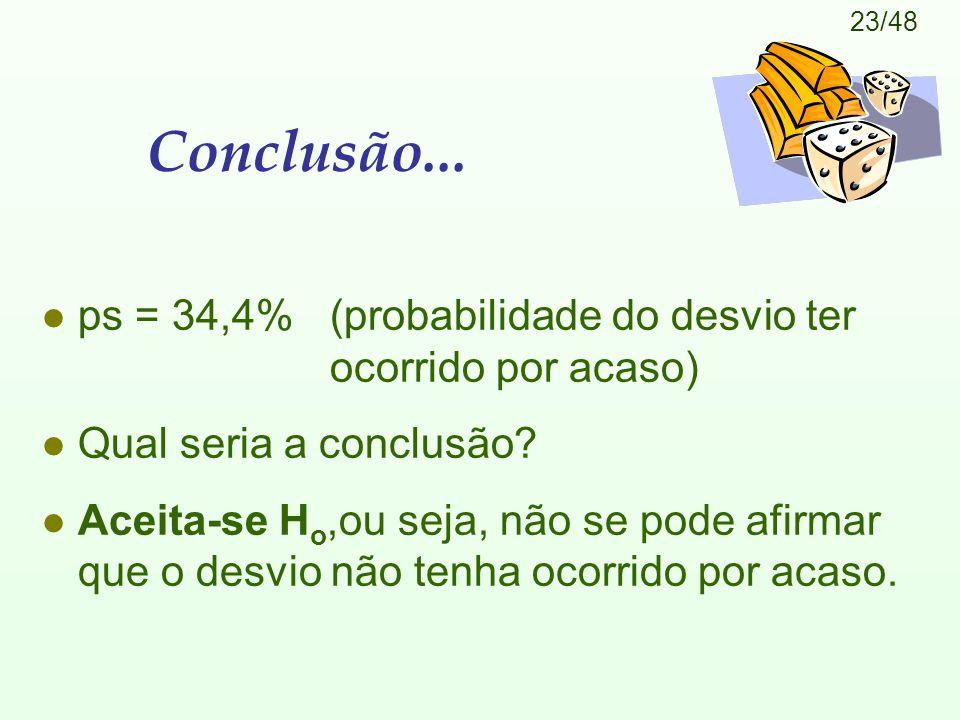 23/48 Conclusão... l ps = 34,4% (probabilidade do desvio ter ocorrido por acaso) l Qual seria a conclusão? l Aceita-se H o,ou seja, não se pode afirma