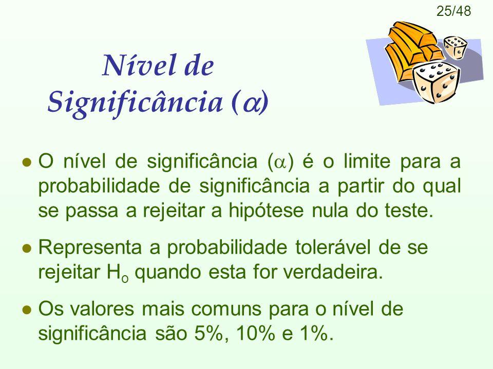 25/48 Nível de Significância (  ) O nível de significância (  ) é o limite para a probabilidade de significância a partir do qual se passa a rejeitar a hipótese nula do teste.