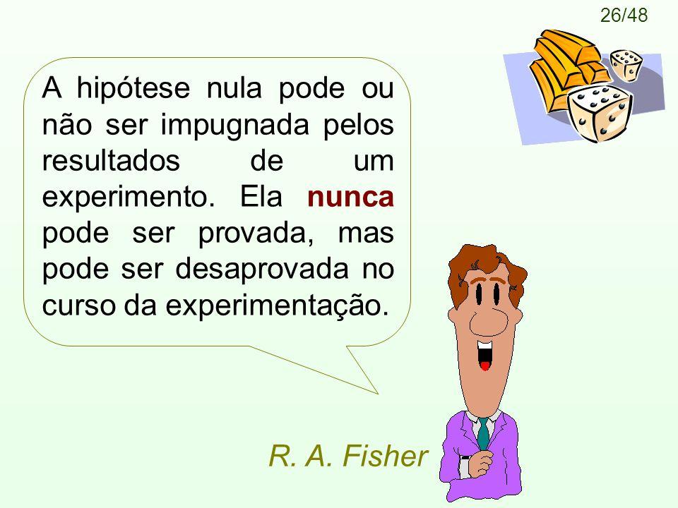 26/48 A hipótese nula pode ou não ser impugnada pelos resultados de um experimento.