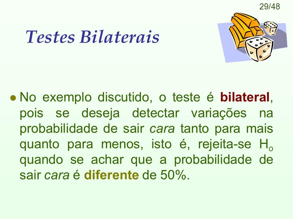 29/48 Testes Bilaterais l No exemplo discutido, o teste é bilateral, pois se deseja detectar variações na probabilidade de sair cara tanto para mais quanto para menos, isto é, rejeita-se H o quando se achar que a probabilidade de sair cara é diferente de 50%.