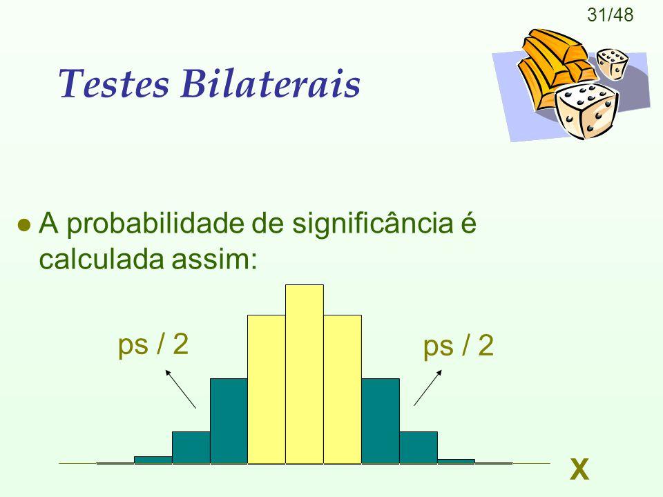 31/48 Testes Bilaterais l A probabilidade de significância é calculada assim: X ps / 2