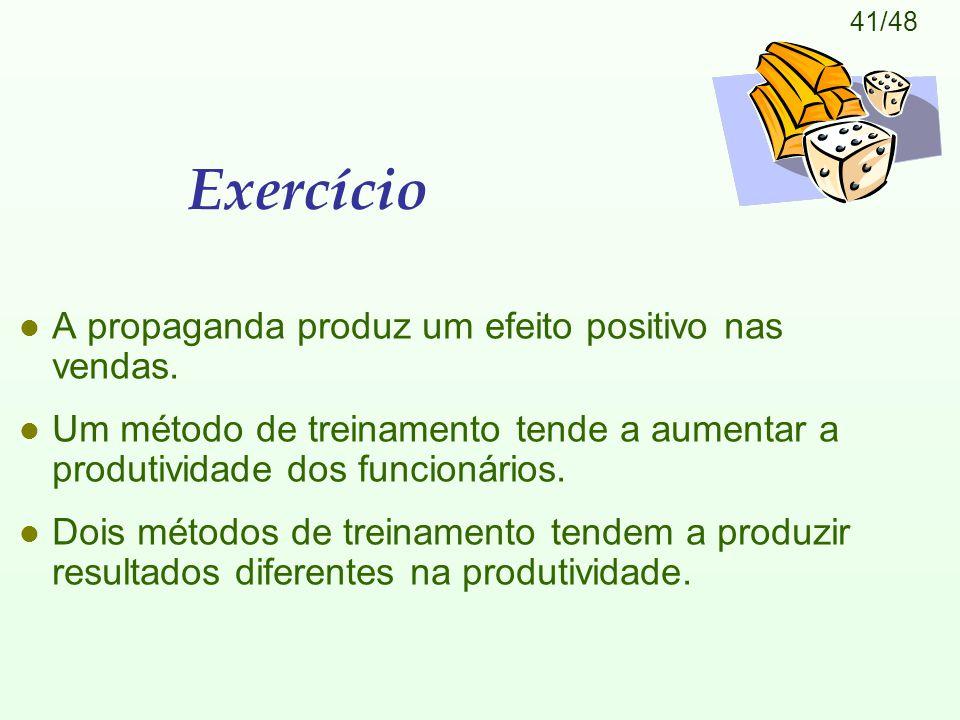 41/48 Exercício l A propaganda produz um efeito positivo nas vendas. l Um método de treinamento tende a aumentar a produtividade dos funcionários. l D