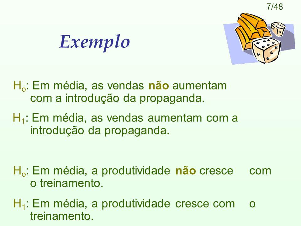 7/48 Exemplo H o : Em média, as vendas não aumentam com a introdução da propaganda.