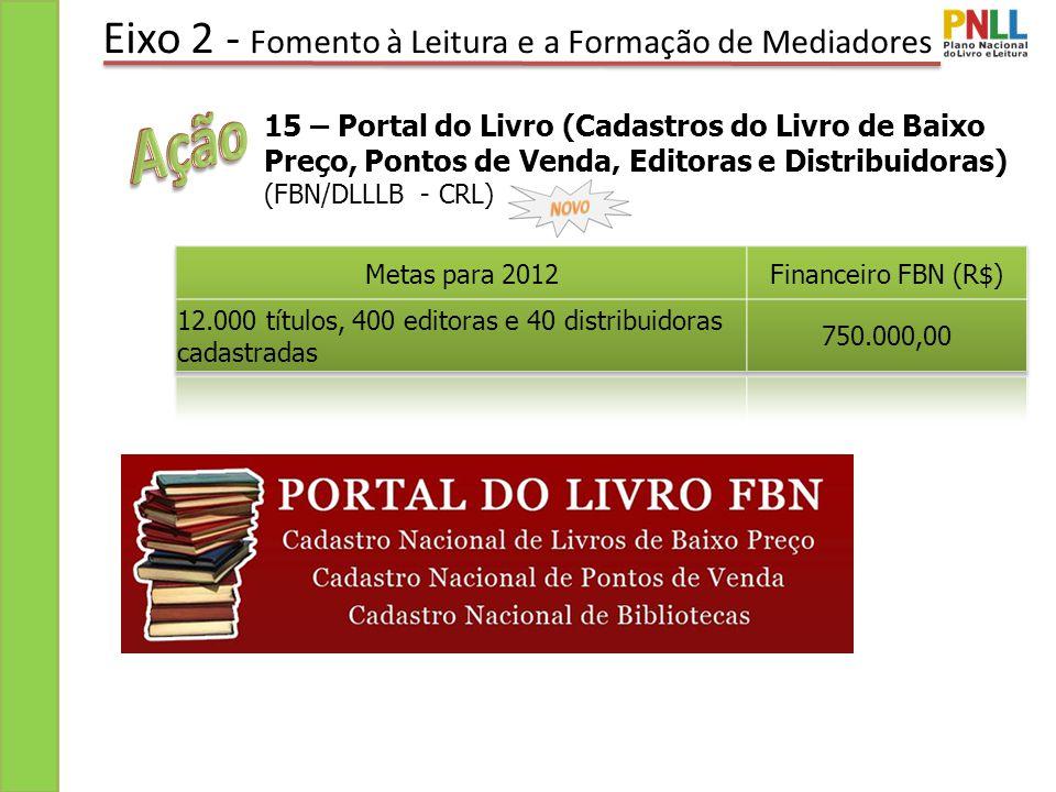 Eixo 2 - Fomento à Leitura e a Formação de Mediadores 15 – Portal do Livro (Cadastros do Livro de Baixo Preço, Pontos de Venda, Editoras e Distribuidoras) (FBN/DLLLB - CRL)