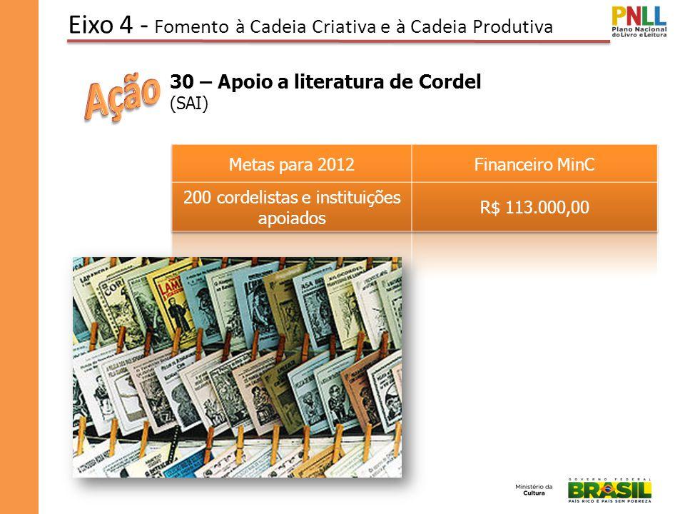 Eixo 4 - Fomento à Cadeia Criativa e à Cadeia Produtiva 30 – Apoio a literatura de Cordel (SAI)