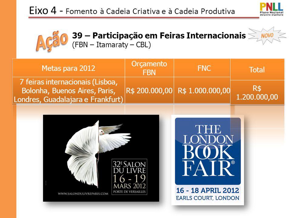 Eixo 4 - Fomento à Cadeia Criativa e à Cadeia Produtiva 39 – Participação em Feiras Internacionais (FBN – Itamaraty – CBL)