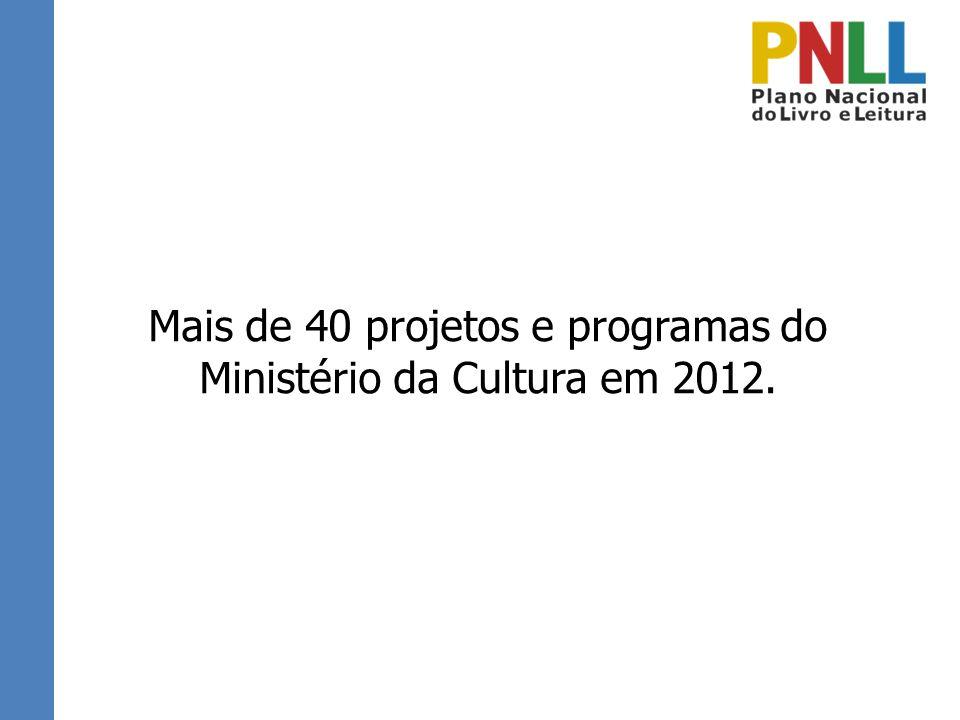 Mais de 40 projetos e programas do Ministério da Cultura em 2012.