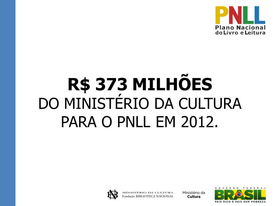 R$ 373 MILHÕES DO MINISTÉRIO DA CULTURA PARA O PNLL EM 2012.