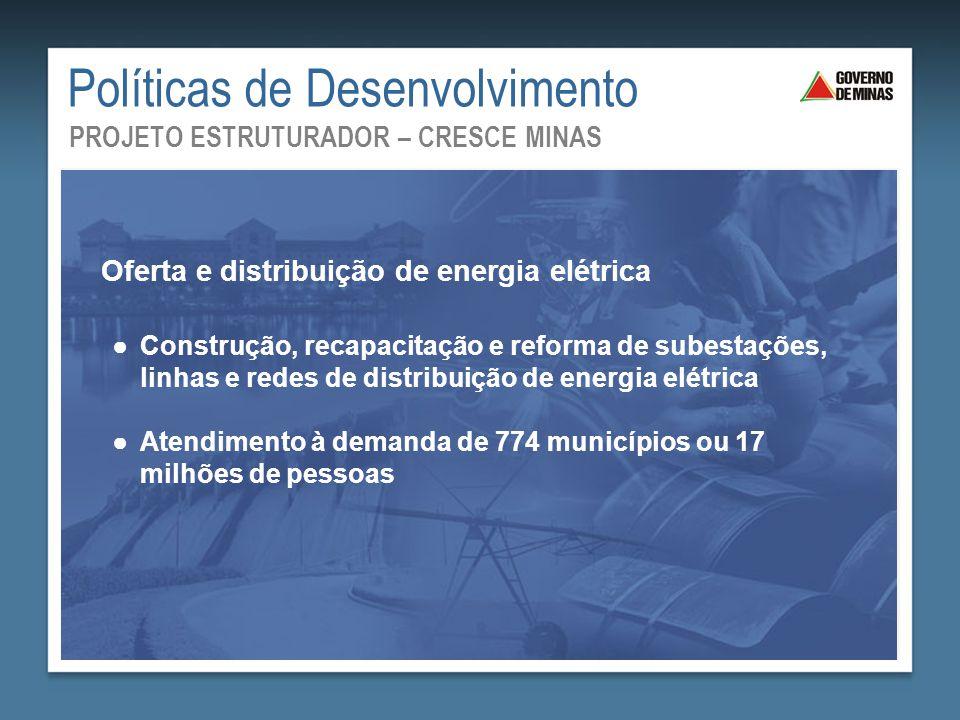 ●Construção, recapacitação e reforma de subestações, linhas e redes de distribuição de energia elétrica ●Atendimento à demanda de 774 municípios ou 17