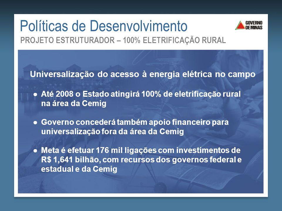 ●Até 2008 o Estado atingirá 100% de eletrificação rural na área da Cemig ●Governo concederá também apoio financeiro para universalização fora da área