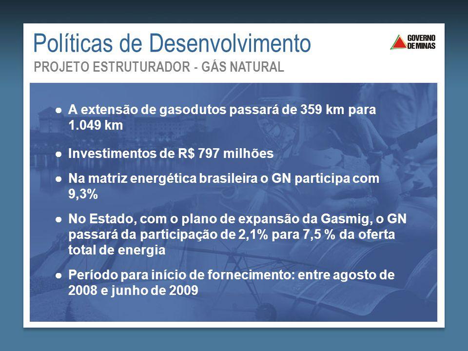 Saneamento Básico: Mais Saúde para Todos ●A extensão de gasodutos passará de 359 km para 1.049 km ●Investimentos de R$ 797 milhões ●Na matriz energéti