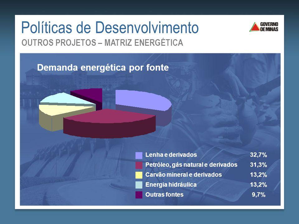 Políticas de Desenvolvimento OUTROS PROJETOS – MATRIZ ENERGÉTICA Lenha e derivados32,7% Petróleo, gás natural e derivados31,3% Carvão mineral e deriva