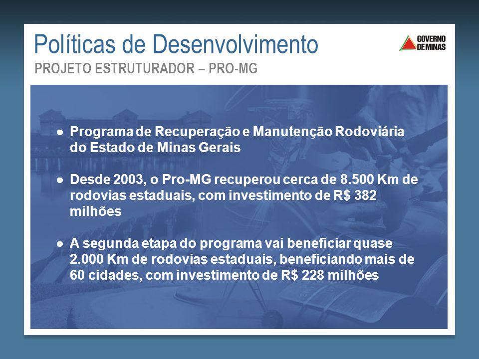 Saneamento Básico: Mais Saúde para Todos ●Programa de Recuperação e Manutenção Rodoviária do Estado de Minas Gerais ●Desde 2003, o Pro-MG recuperou ce
