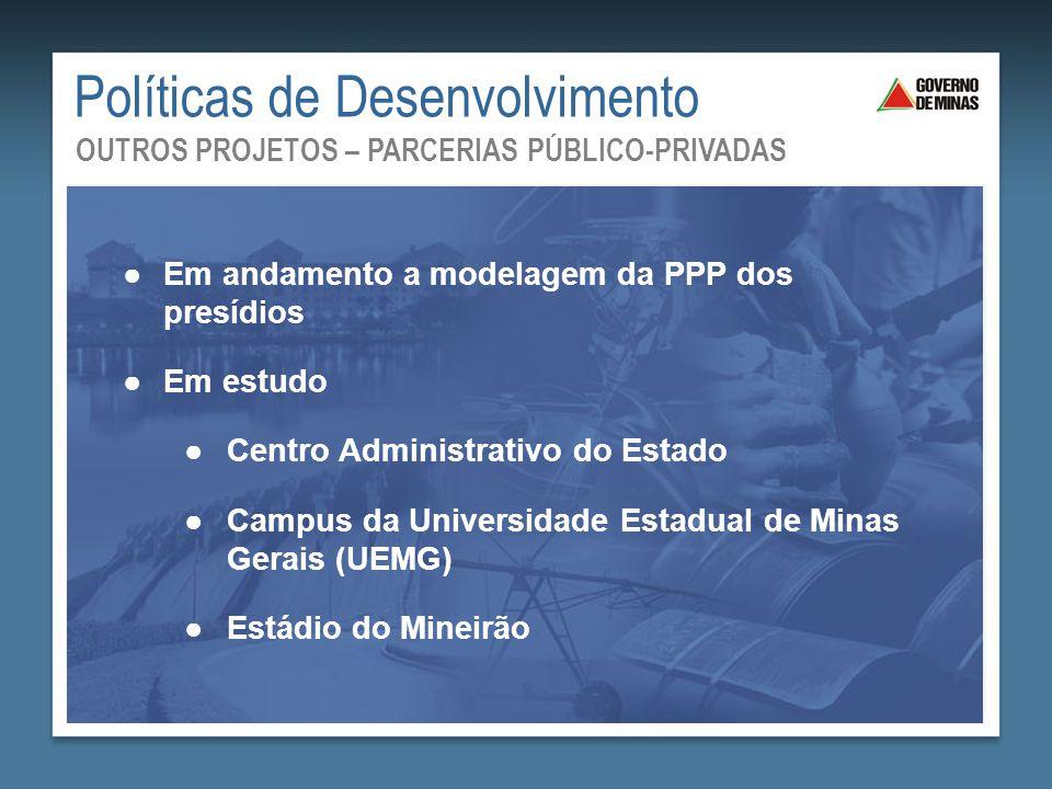 Políticas de Desenvolvimento OUTROS PROJETOS – PARCERIAS PÚBLICO-PRIVADAS ●Em andamento a modelagem da PPP dos presídios ●Em estudo ●Centro Administra