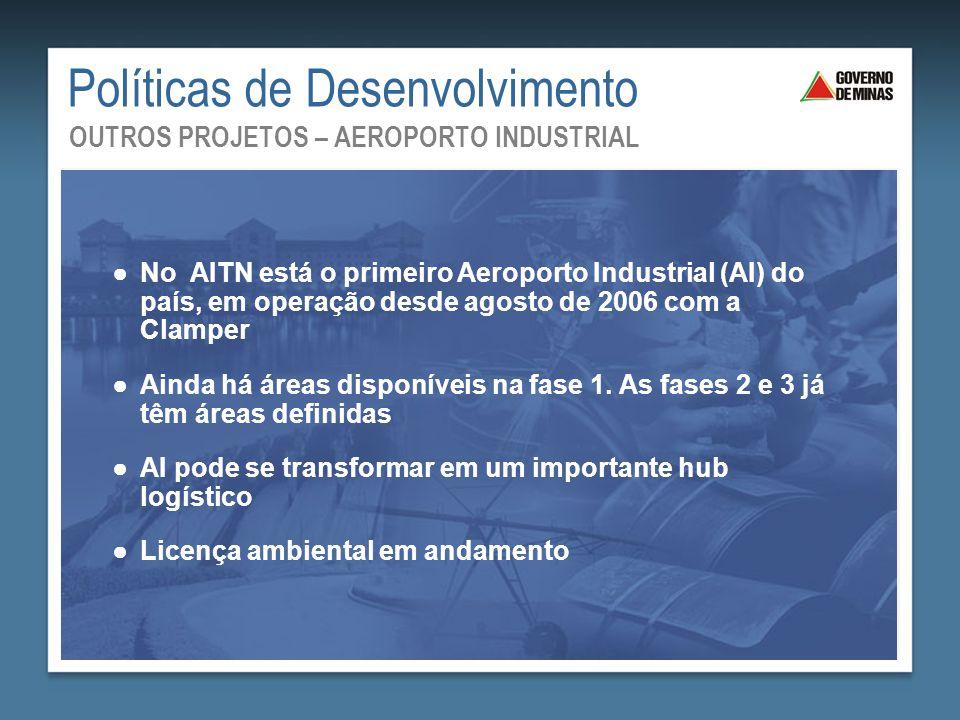 ●No AITN está o primeiro Aeroporto Industrial (AI) do país, em operação desde agosto de 2006 com a Clamper ●Ainda há áreas disponíveis na fase 1. As f