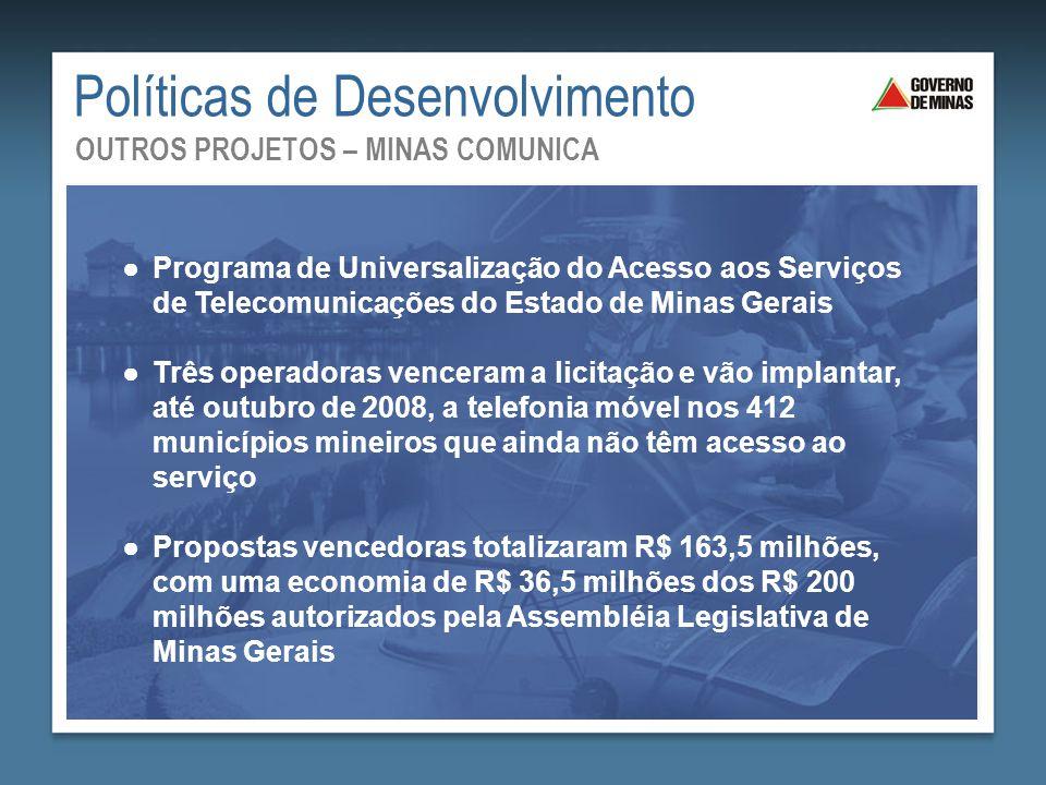 Saneamento Básico: Mais Saúde para Todos ●Programa de Universalização do Acesso aos Serviços de Telecomunicações do Estado de Minas Gerais ●Três opera