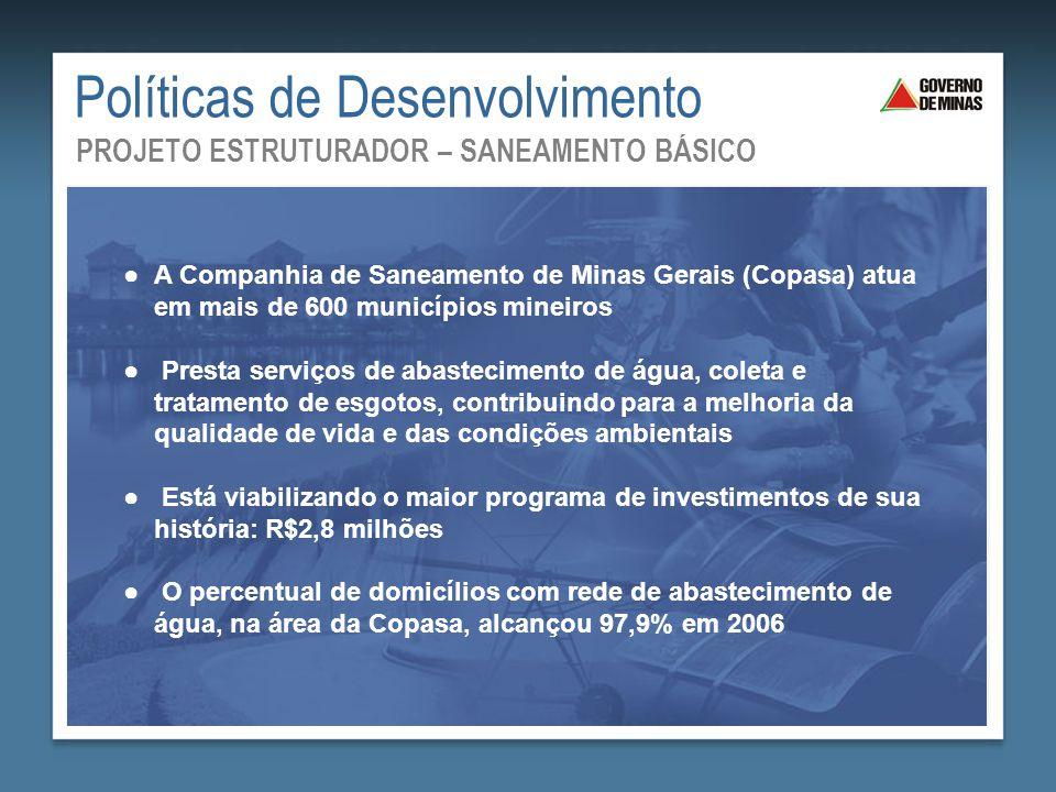 Saneamento Básico: Mais Saúde para Todos ●A Companhia de Saneamento de Minas Gerais (Copasa) atua em mais de 600 municípios mineiros ● Presta serviços