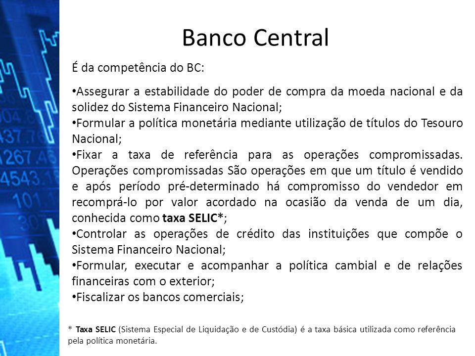 É da competência do BC: Assegurar a estabilidade do poder de compra da moeda nacional e da solidez do Sistema Financeiro Nacional; Formular a política