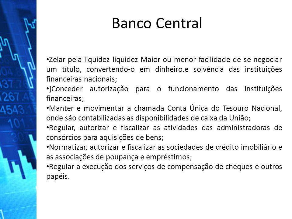 Zelar pela liquidez liquidez Maior ou menor facilidade de se negociar um título, convertendo-o em dinheiro.e solvência das instituições financeiras na