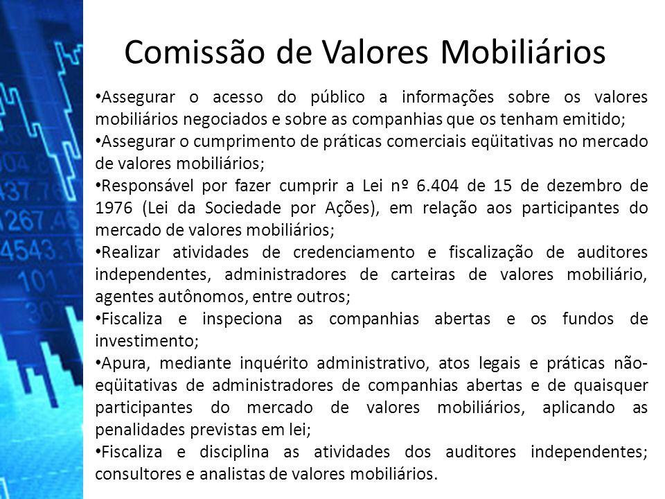 Assegurar o acesso do público a informações sobre os valores mobiliários negociados e sobre as companhias que os tenham emitido; Assegurar o cumprimen