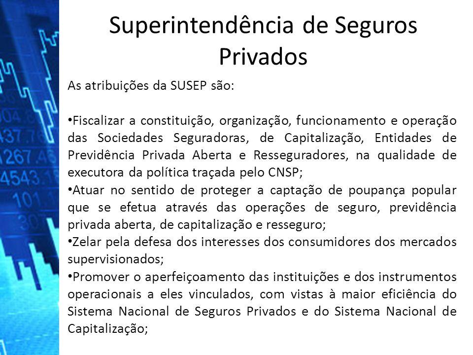 As atribuições da SUSEP são: Fiscalizar a constituição, organização, funcionamento e operação das Sociedades Seguradoras, de Capitalização, Entidades