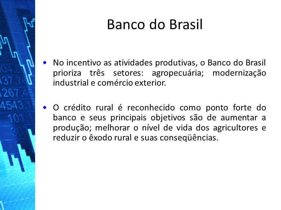 No incentivo as atividades produtivas, o Banco do Brasil prioriza três setores: agropecuária; modernização industrial e comércio exterior.No incentivo