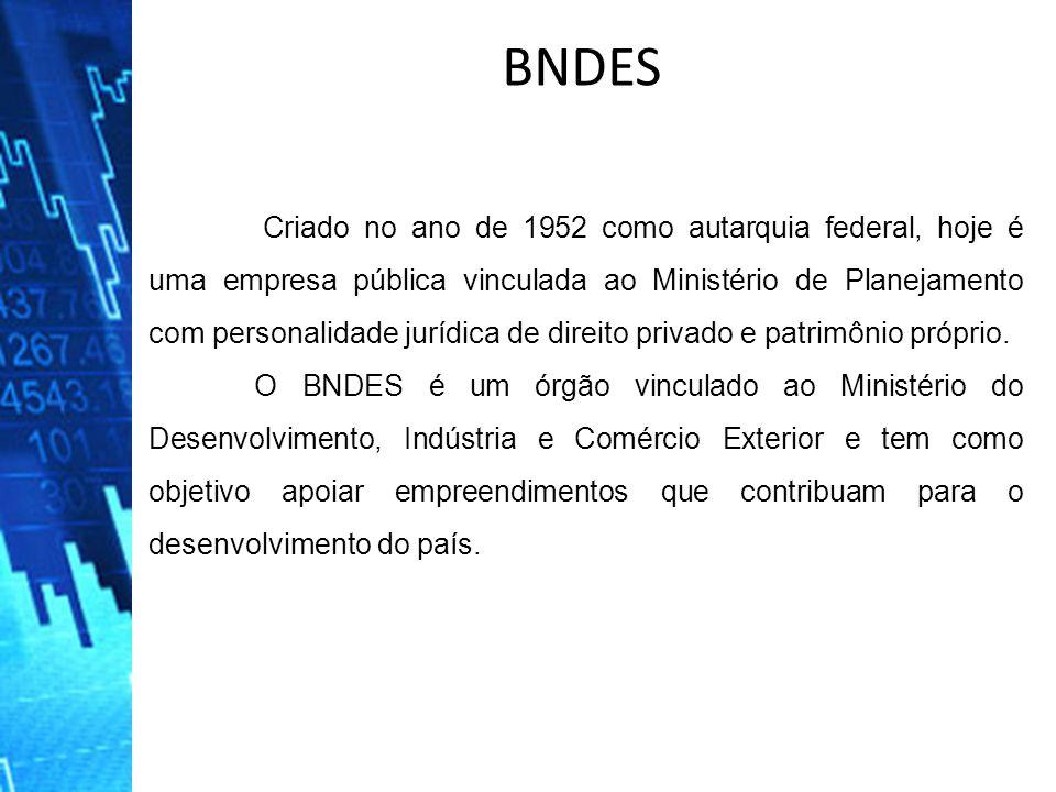 BNDES Criado no ano de 1952 como autarquia federal, hoje é uma empresa pública vinculada ao Ministério de Planejamento com personalidade jurídica de d