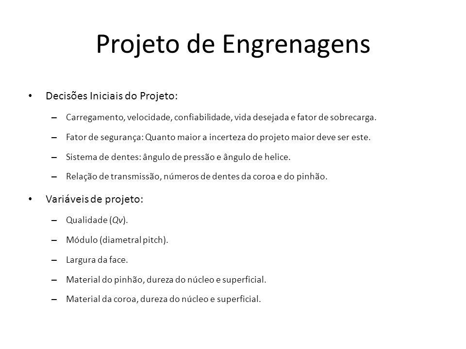 Projeto de Engrenagens Sugestão de procedimento de cálculo 1.Escolha o módulo (diametral pitch).