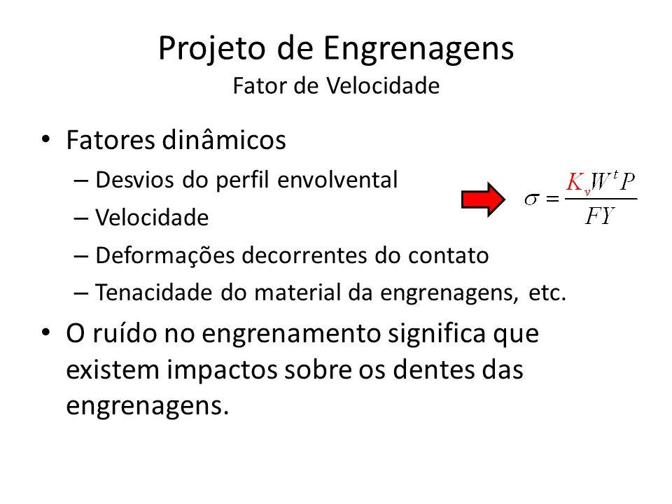 Projeto de Engrenagens Fator de Velocidade Fatores dinâmicos perfil cicloidal ( Século XIX ): Fatores dinâmicos perfil envolvental (Século XX): Sistema Inglês de Unidades