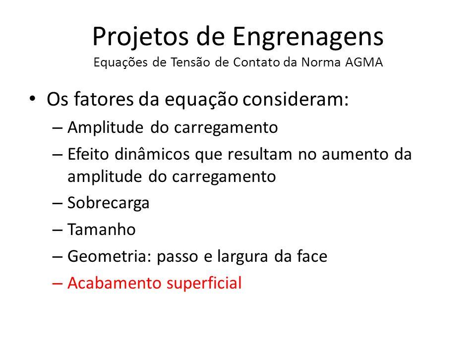 Projetos de Engrenagens Equações de Resistência a Flexão da Norma AGMA
