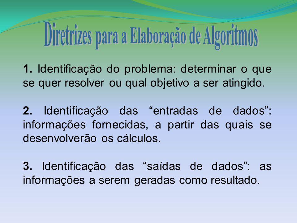 """1. Identificação do problema: determinar o que se quer resolver ou qual objetivo a ser atingido. 2. Identificação das """"entradas de dados"""": informações"""