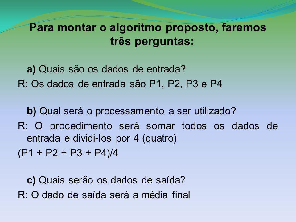 Para montar o algoritmo proposto, faremos três perguntas: a) Quais são os dados de entrada? R: Os dados de entrada são P1, P2, P3 e P4 b) Qual será o