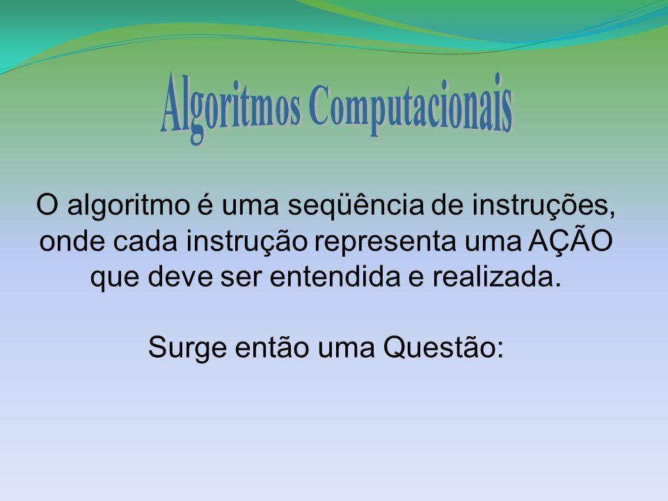 O algoritmo é uma seqüência de instruções, onde cada instrução representa uma AÇÃO que deve ser entendida e realizada. Surge então uma Questão: