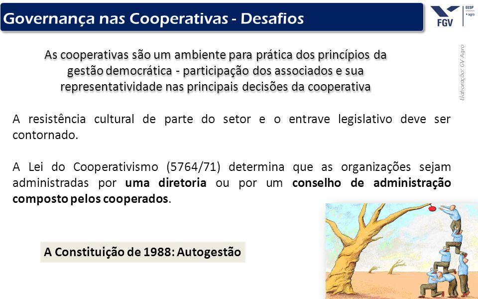 - 12 - Elaboração: GV Agro Governança nas Cooperativas - Desafios As cooperativas são um ambiente para prática dos princípios da gestão democrática -